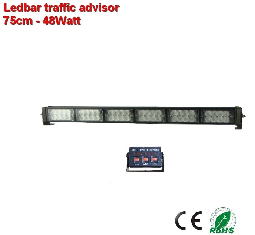 Led Mega Traffic bar 75cm- Oranje 25 patronen 48watt