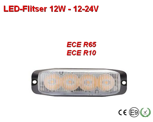 12-24v Led flitser 12W Oranje R65-ECE R10