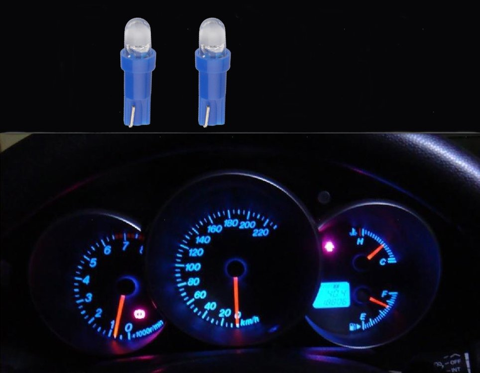 2 x T5-286  1 led dashboard-lampjes blauw