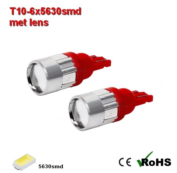 2x -T10 led lamp  met 6 x 5630smd  Rood 12/24Volt
