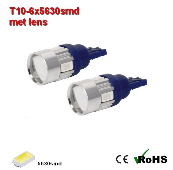 2x -T10 led lamp  met 6 x 5630smd  Blauw 12/24Volt