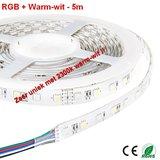 5Meter LEDstrip RGB en Gold Warm-wit 300 smd -IP65_