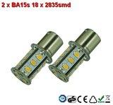 2 x BA15s- 18x2835smd- Warm-Wit 10-30v_