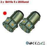2 x BA15s led lamp - 9x2835smd- Rood 10-30v_