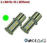 2 x BA15s 18x2835smd Groen 10-30v_