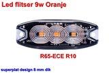 Led flitser 9W Oranje R65-ECE R10 Slim_