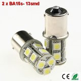 2x BA15s led lamp met 13smd- Warm-Wit 10-36v_