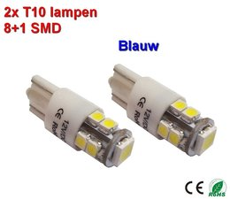 2x T10-9SMD Blauw-12Vdc