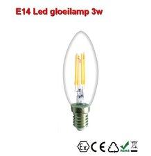 E14 LED kaarslamp Gloeispiraal design 3w Warmwit