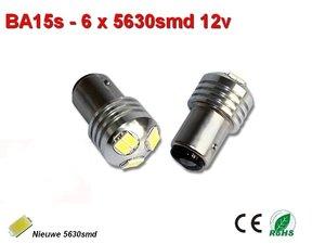 2x BA15s-6-5630smd- Wit 12v (245 lumen)