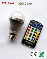 E27- 5w-RGB-ledlamp multicolor