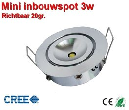 LED Mini Inbouwspot verstelbaar 3w Cree