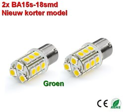 2x BA15s- 18-smd Groen-10-28v