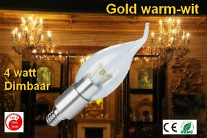 E14 Candle-tip 4w GOLD-Warmwit dimbaar