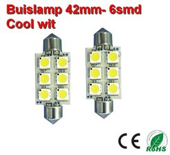 2x Buislamp 42mm 6 SMD Cool wit (185 lumen) 10-30v