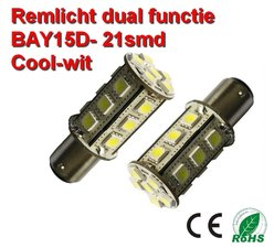 2x BAY15D-21smd Cool-wit (Remlicht) 12v