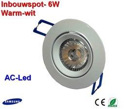 witte Inbouwspot 6 watt Warm -wit  met AC-led Dimbaar