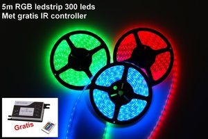5m RGB LEDstrip 300 leds  nu met gratis controller !