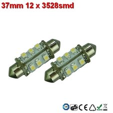 Led-buislampen 37mm 12x 3528smd Cool-wit 10-30v