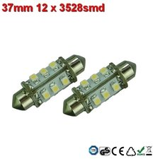 Led-buislampen 37mm 12x 3528smd Warm-wit 10-30v