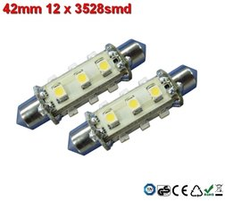 Led-buislampen 42mm 12x 3528smd Cool-wit 10-30v