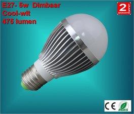 E27 lamp 5watt Cool-wit Dimbaar