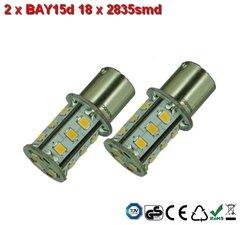 2 x BAY15d-18x2835smd- Cool-Wit 10-30v Navigatie