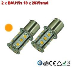 2 x BAU15s- 18x2835smd- Oranje 10-30v