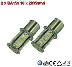 2 x BA15s- 18x2835smd- Warm-Wit 10-30v