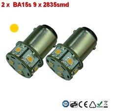 2 x BA15s- 9x2835smd- Oranje 10-30v