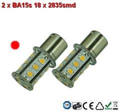 2 x BA15s 18x2835smd Rood 10-30v