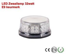 LED Zwaailamp Laag model 10 patronen E-merk E9  Oranje