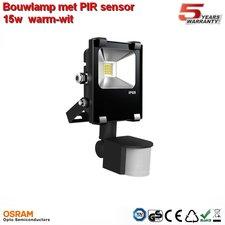 15w AC-Bouwlamp led warm-wit met bewegings sensor