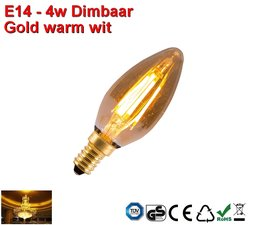 E14 vintage design 3,5w Gold warmwit Dimbaar