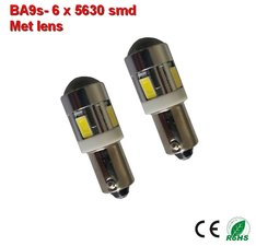 2x  ba9s led lamp met 6 x 5630smd Wit 12/24Volt