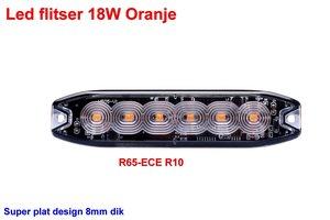 Led flitser 18W Oranje R65-ECE R10 Slim