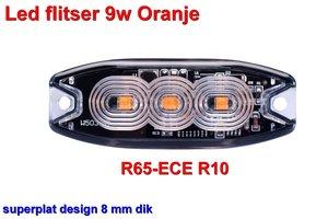 Led flitser 9W Oranje R65-ECE R10 Slim