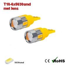 2x -T10 led lamp  met 6 x 5630smd  Oranje 12/24Volt