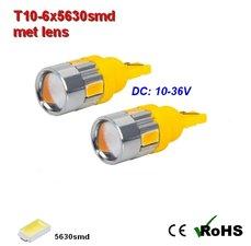 2x -T10 led lamp  met 6 x 5630smd  Oranje 10 tot 36Volt