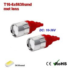2x -T10 led lamp  met 6 x 5630smd  Rood 10 tot 36Volt