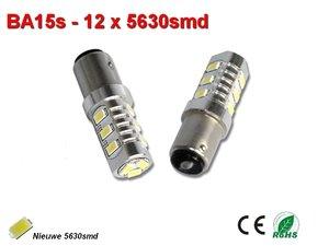 2x BA15s-12-5630smd-Warm-Wit (450lumen)