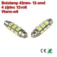 2x Buislamp 42mm 12 SMD rond Warm-wit (245 lumen) 12v