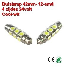 2x Buislamp 42mm 12 SMD rond Cool-wit (245 lumen) 24v