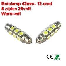 2x Buislamp 42mm 12 SMD rond Warm-wit (245 lumen) 24v