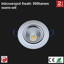 LED Cob Inbouwspot 5w Rond warm-wit 500 lumen Dimbaar