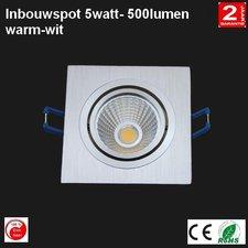 LED Cob Inbouwspot 5w Vierkant warm-wit 500 lumen Dimbaar