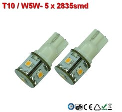 2x -T10 led lamp  met 5x2835smd  Wit 10-30Volt