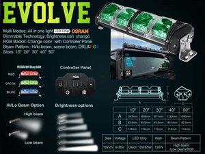 Extreme 10inch dimbare Ledbar Evolve rgb Dim-grootlicht 124watt