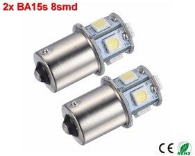 2x BA15s led lamp met 8smd- Cool-Wit 10-36v