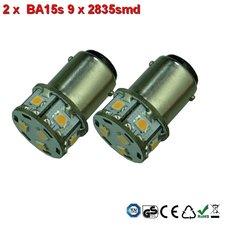 2x BA15s- 9x2835smd- Warm-Wit 10-36v